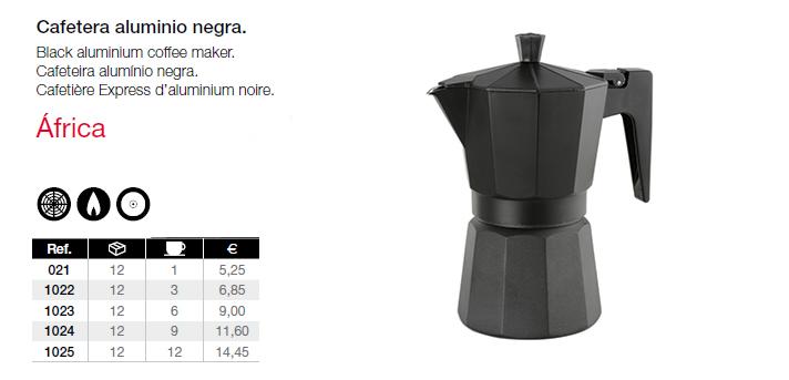 cafetera aluminio negra Africa